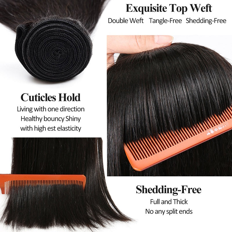 [Abyhair 10A] Malaysian Human Straight Hair 3 Bundles With 4x4 Lace Closure Free Part