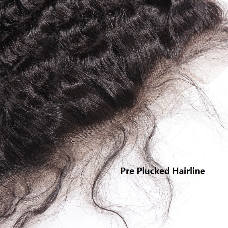 [Abyhair 10A] Indian Deep Wave 4 Bundles With 13x 4 Lace Frontal Closure With Baby Hair