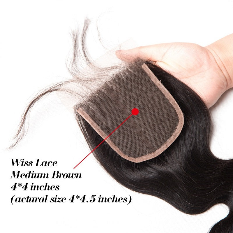 [Abyhair 10A] Peruvian Human Hair Body Wave 3 Bundles With 4x4 Lace Closure Free Part