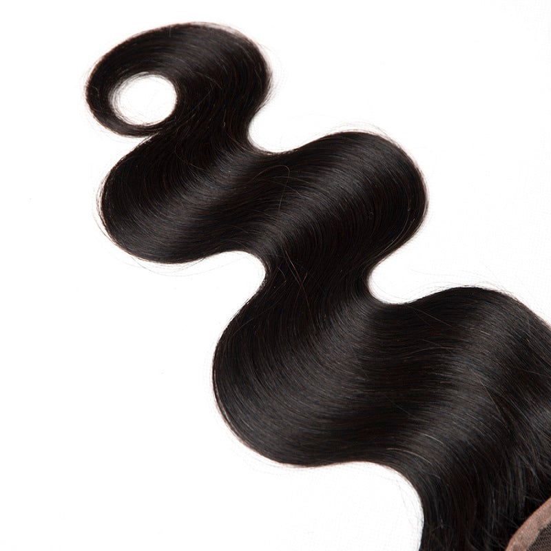 [Abyhair 10A] Indian Human Hair Body Wave 3 Bundles With 4x4 Lace Closure Free Part
