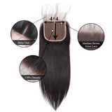 [Abyhair 8A] Malaysian 3 Bundles With 4x4 Lace Closure Straight Remy Human Hair