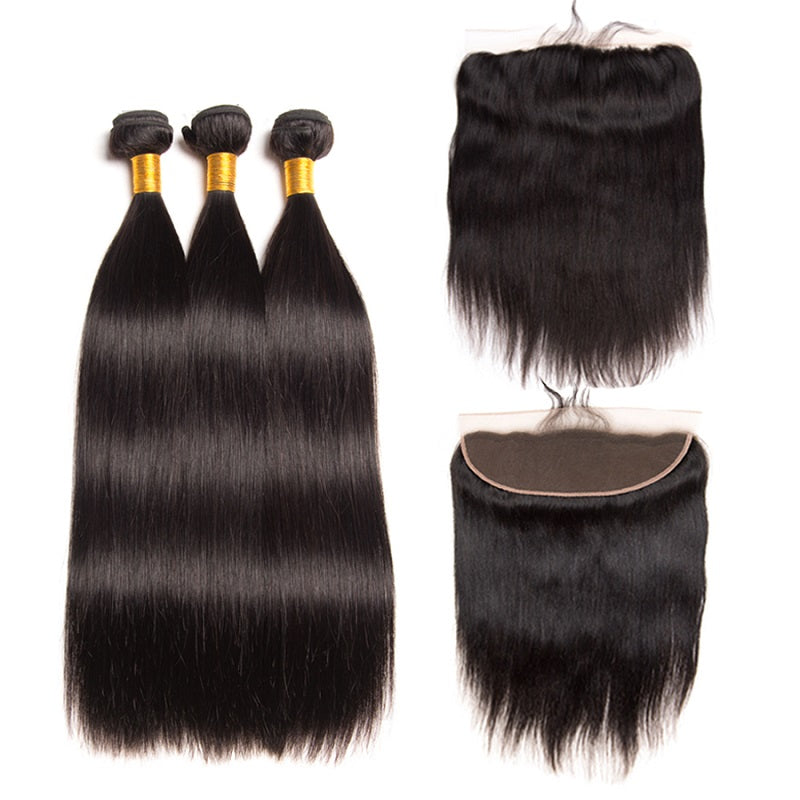 [Abyhair 8A] Straight 3 Bundles With Lace Frontal 13x4 Closure Peruvian Remy Hair