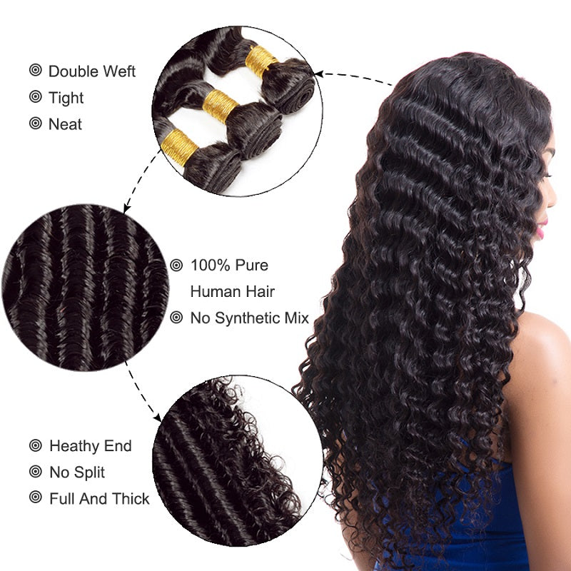 [Abyhair 10A] Peruvian Deep Wave 3 Bundles With 13x 4 Lace Frontal Closure With Baby Hair
