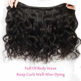 [Abyhair 10A] Indian Human Hair Body Wave 4 Bundles With 4x4 Lace Closure Free Part