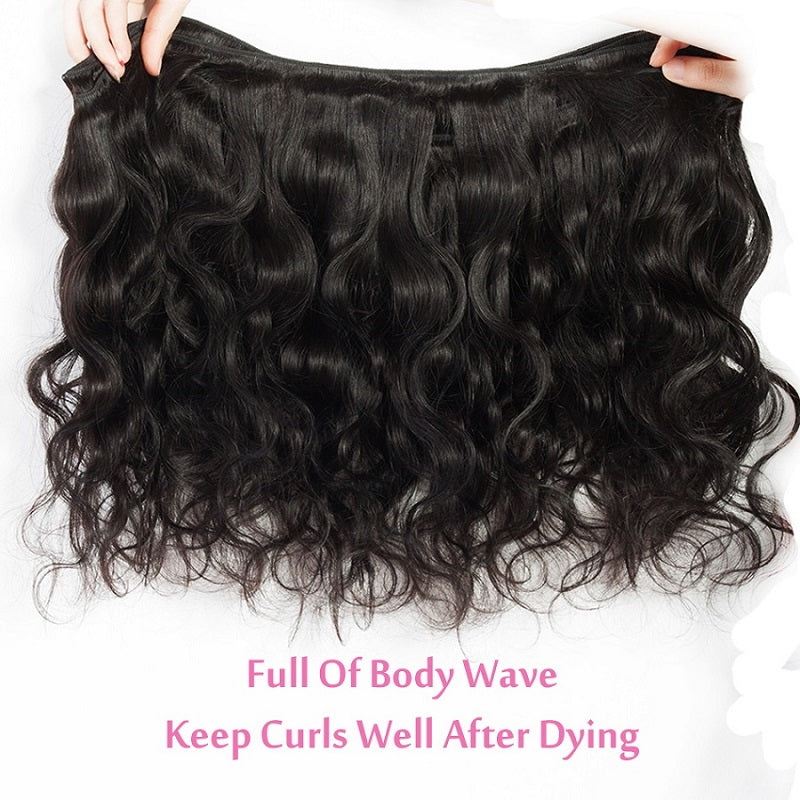 [Abyhair 8A] Body Wave 4 Bundles With Lace Frontal 13x4 Closure Indian Remy Hair