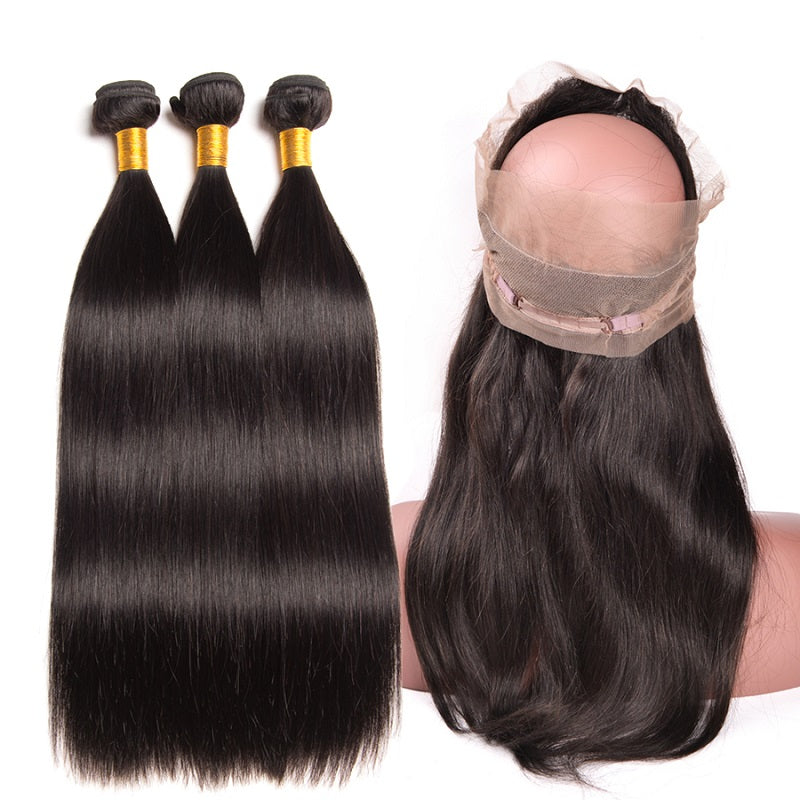 [Abyhair 8A] Straight 360 Lace Frontal With 3 Bundles Natural Hairline Peruvian Remy Hair Weave