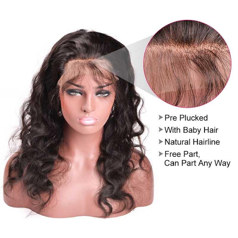 [Abyhair 8A] Body Wave 360 Lace Frontal With 3 Bundles Natural Hairline Malaysian Remy Hair Weave