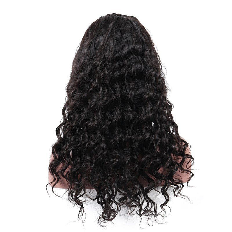 Loose Wave Glueless Full Lace Human Hair Wig Bleached Knots Pre Plucked Hairline
