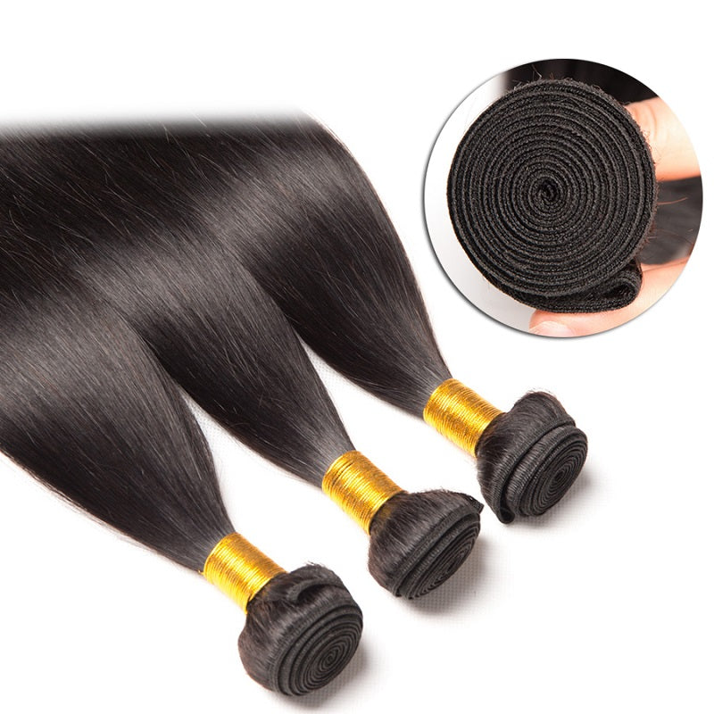 [Abyhair 10A] Indian Straight Hair 3 Bundles 100% Human Hair Weave Extensions