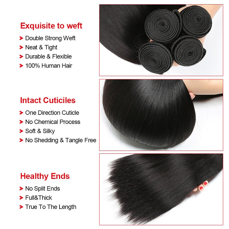 9a Peruvian Straight Hair Weave Bundles 4 Bundles Virgin Human Hair
