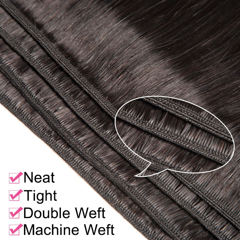 [Abyhair 9A] Straight Hair 3 Bundles With 4x4 Lace Closure Peruvian Human Hair