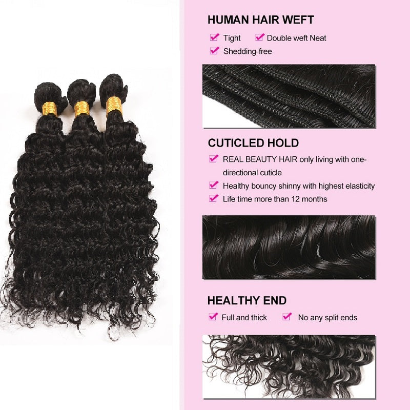 [Abyhair 10A] Indian Deep Wave 3 Bundles With 360 lace Frontal Closure Virgin Human Hair