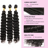 [Abyhair 8A] Brazilian 3 Bundles With 4x4 Lace Closure Deep Wave Remy Human Hair