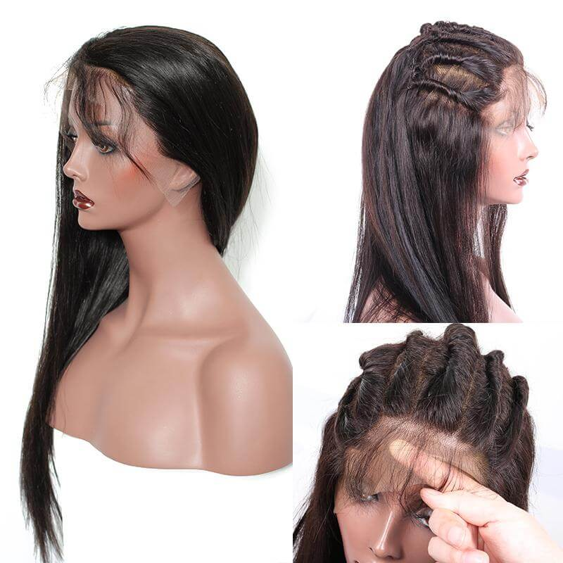 Straight 360 Lace Frontal Wig 150% Density Lace Front Wigs Pre Plucked With Baby Hair