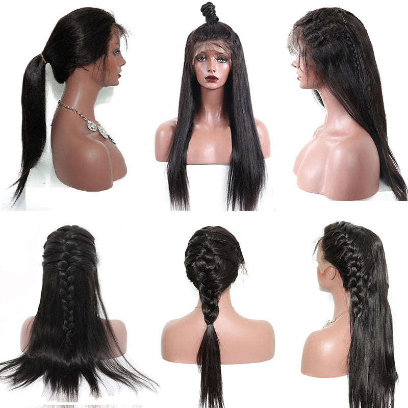 250% Density Straight 360 Lace Frontal Human Hair Wig Pre Plucked With Baby Hair