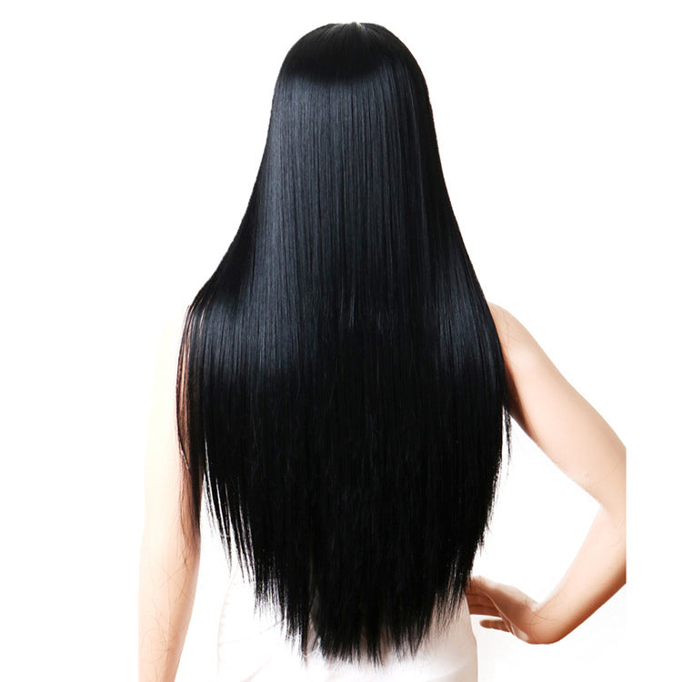 Long Straight Synthetic Wigs Natural Black Heat Resistant Synthetic Wigs 28 Inch Wig