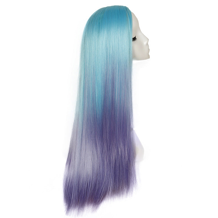 Heat Resistant Long Straight Cosplay Mermaid Wig Synthetic Hair Wigs Blue to Purple Wig
