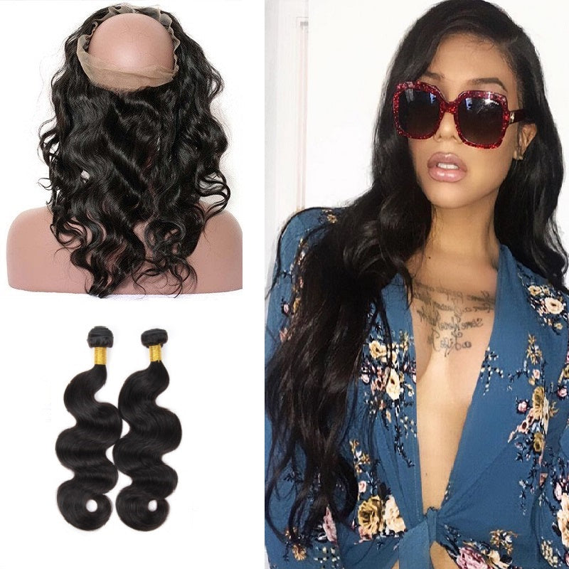 [Abyhair 10A] Brazilian Body Wave 2 Bundles With 360 lace Frontal Closure Virgin Human Hair
