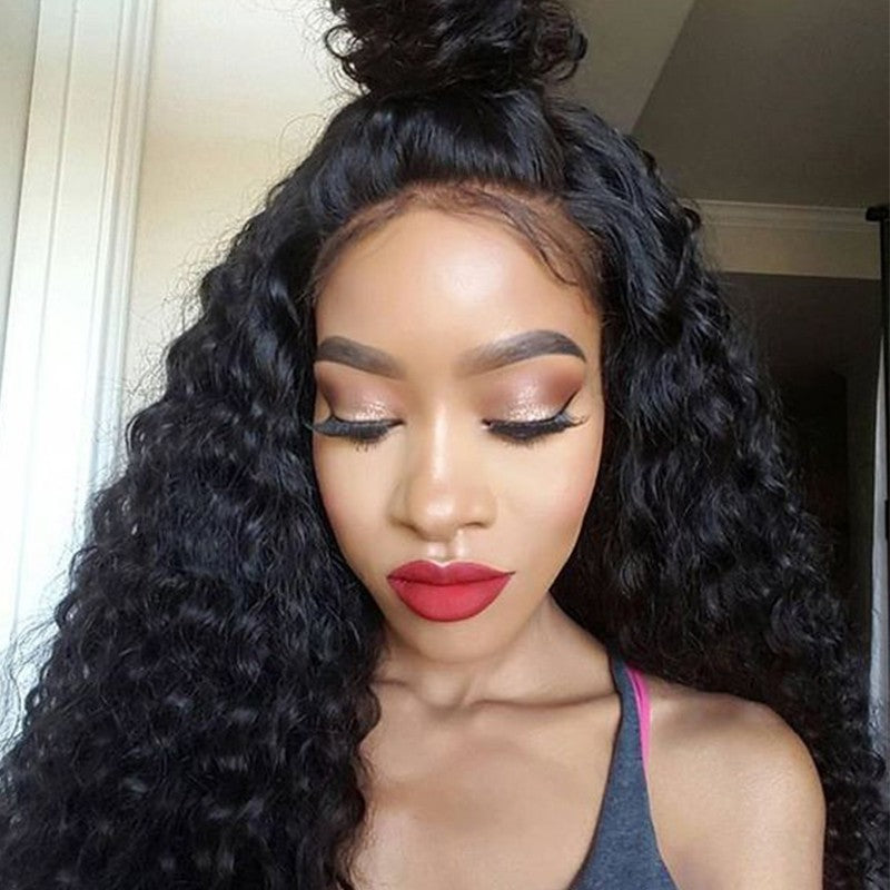 [Abyhair 8A] Deep Wave 360 Lace Frontal With 3 Bundles Natural Hairline Brazilian Remy Hair Weave