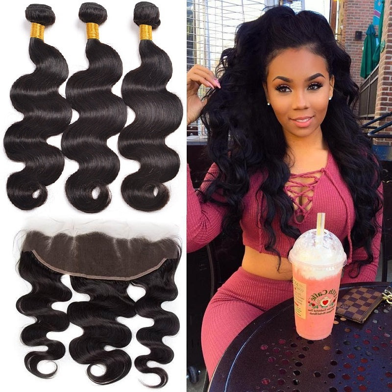 [Abyhair 9A] Body Wave 13x 4 Lace Frontal Closure With 3 Bundles Indian Human Hair