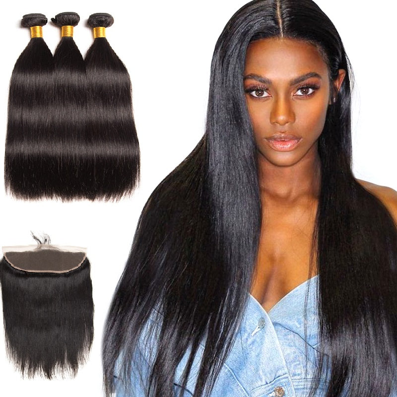 [Abyhair 10A] Malaysian Straight Hair 3 Bundles With 13x 4 Lace Frontal Closure With Baby Hair