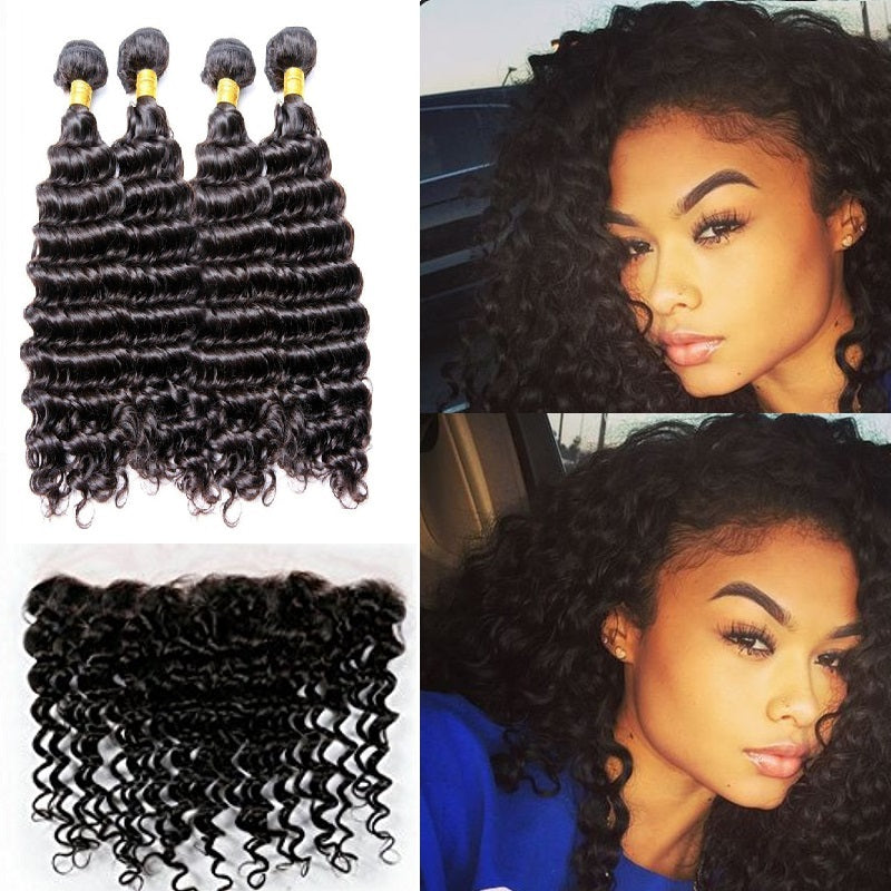 [Abyhair 10A] Peruvian Deep Wave 4 Bundles With 13x 4 Lace Frontal Closure With Baby Hair