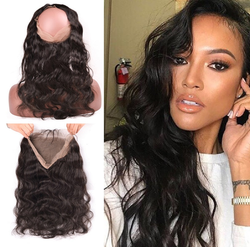 9A Virgin Body Wave 360 Lace Frontal Closure Bleached Knots 130% Density