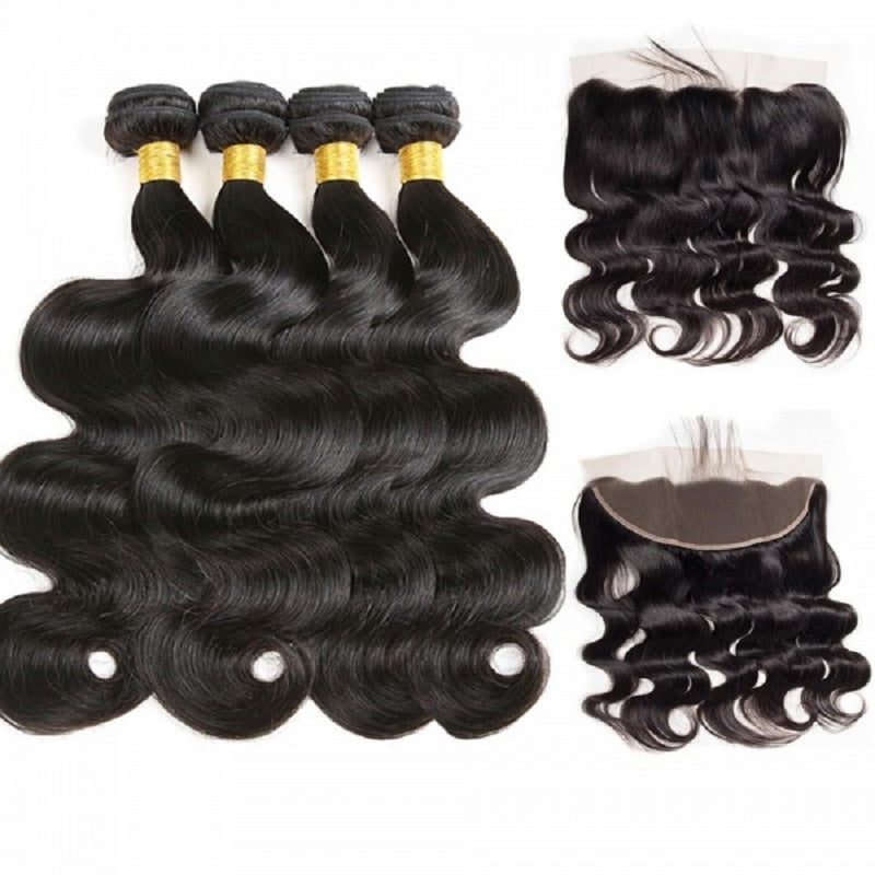 [Abyhair 9A] Body Wave 13x 4 Lace Frontal Closure With 4 Bundles Brazilian Human Hair