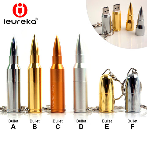 Gold Silver Metal Bullet Shape Genuine USB 2.0
