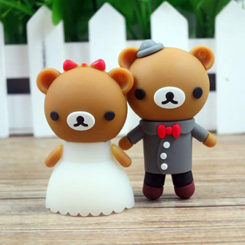 cartoon bear pendrive bride groom USB flash drive
