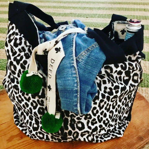 DEED bags CLASSIC Collection - animal print with emerald pompoms