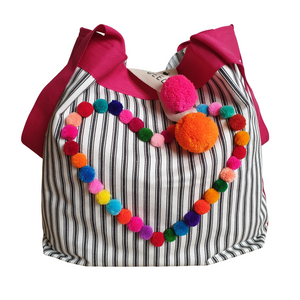 HEARTS - Charcoal Ticking Stripe with Mini-Pompoms Heart