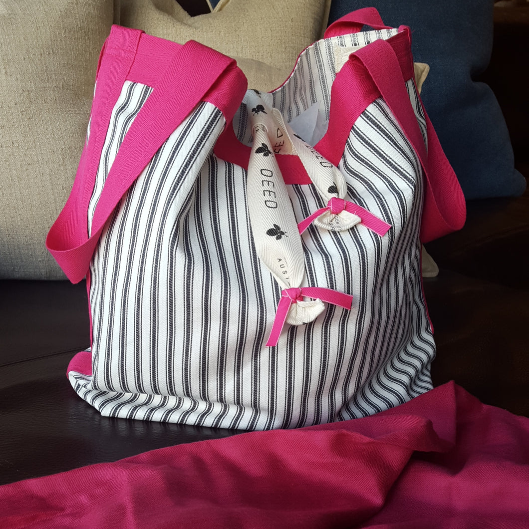 LUXE - ticking stripe with pink trim + ribbon ties