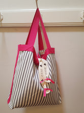LUXE - Ticking Stripe - Charcoal with Pink trim + ribbon ties