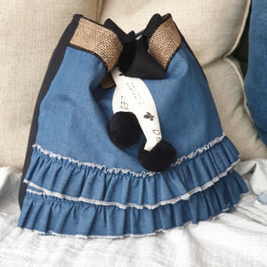 FASHIONISTA - Double Denim Ruffles - Black Trim