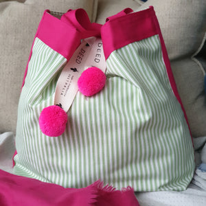 LUXE - Ticking Stripe - Apple Green with Pink Trim