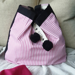 CLASSIC - Ticking Stripe - Magenta Pink with Black Trim