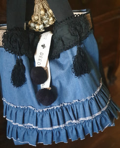 FASHIONISTA - Denim + Vintage French Silk Ruffled Collar
