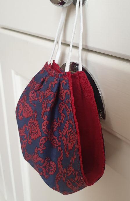 FACE MASK - Non-Medical - Navy blue and red Florence Broadhurst / Red cotton