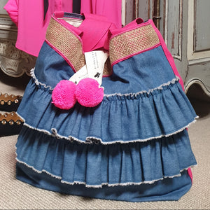 FASHIONISTA - Double Denim Ruffles - Fuscia Trim