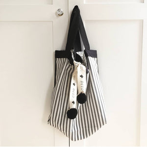 CLASSIC - Ticking Stripe - Charcoal with black trim
