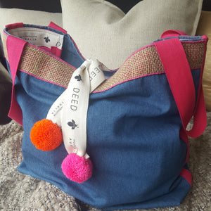 LUXE - Denim with jute edging and pompom trim