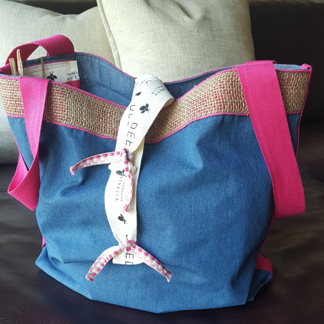 LUXE - Denim with jute edging and ribbon trim
