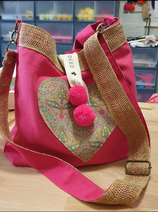 BESPOKE - Fuscia Heart with Gold Jute Cross Body Strap