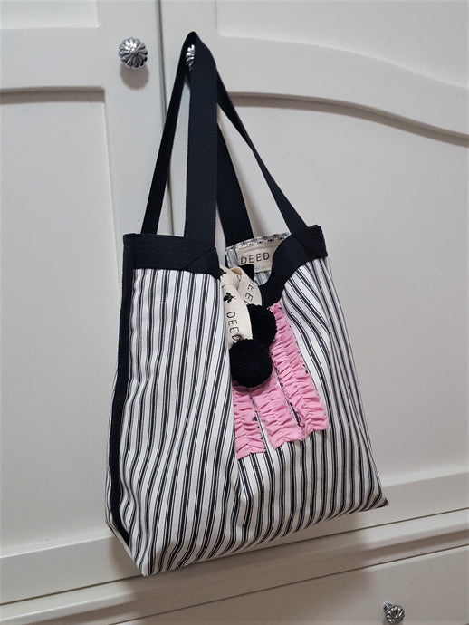 LUXE - Ticking Stripe - Charcoal with Pink frills