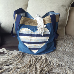HEARTS - Denim and Gold Jute