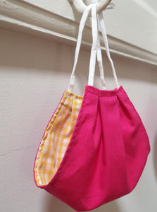 FACE MASK - Non-Medical - Hot Pink  / Sunshine Yellow Gingham