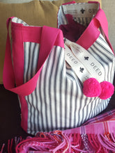 LUXE - Ticking Stripe - Charcoal with Pink Trim and Pompoms