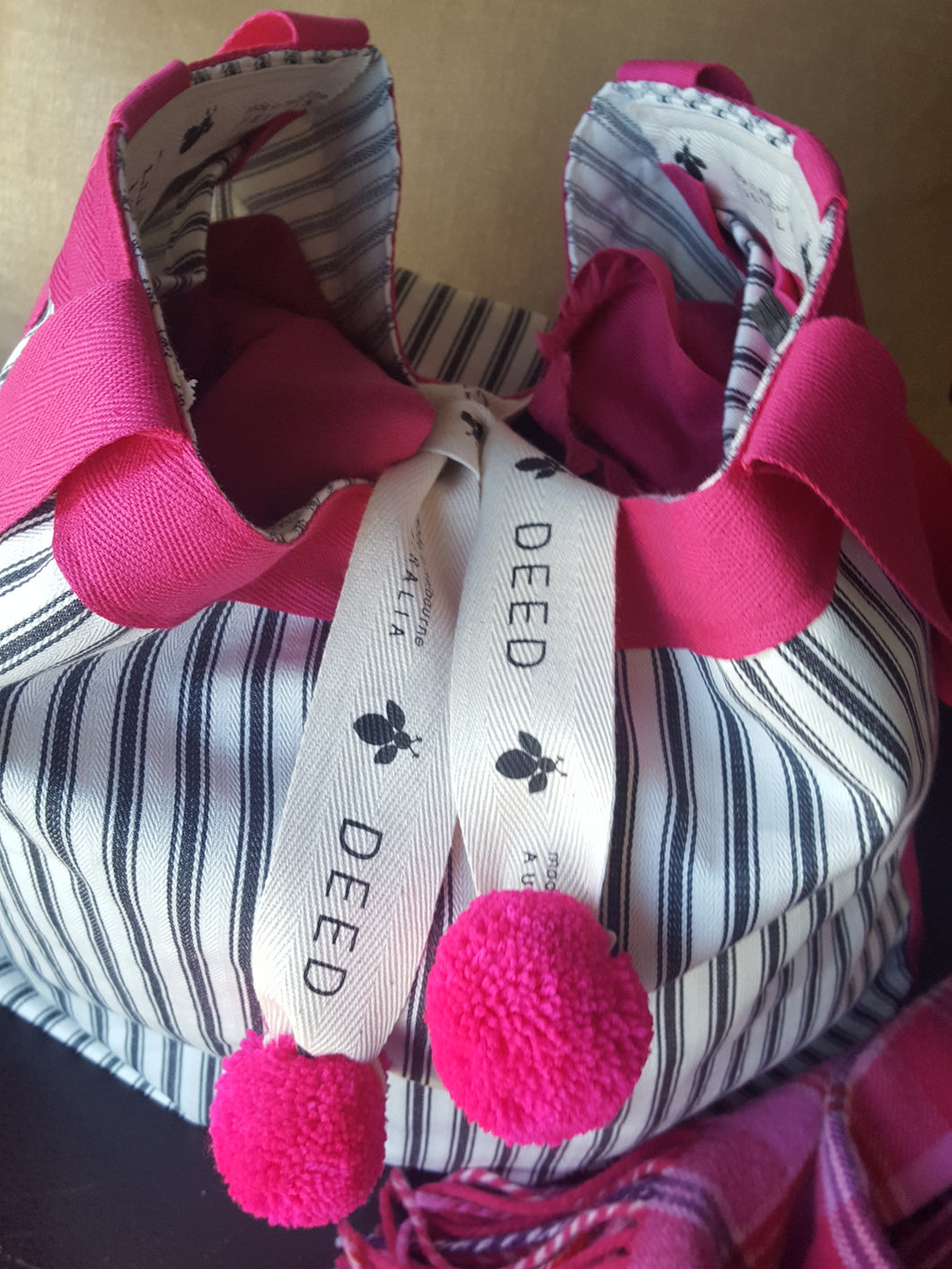 LUXE - ticking stripe with pink trim and pompoms