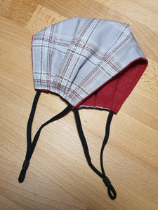 FACE MASK - Non-Medical - Taupe Grey Spotted Tartan / Rust Red